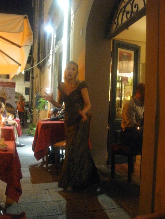 Buonasera Puccini show performed outside Ristorante Puccini.