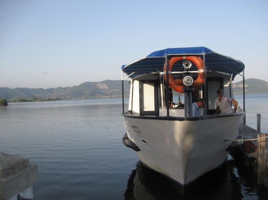 Catching the boat to the Gran Teatro all'aperto in Torre del lago