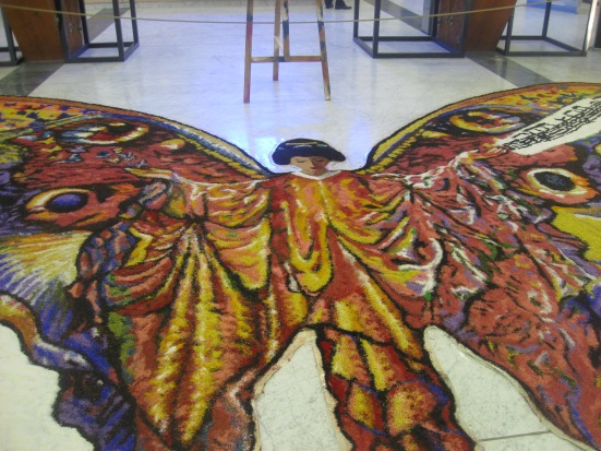 Madame Butterfly made out of fresh flowers
